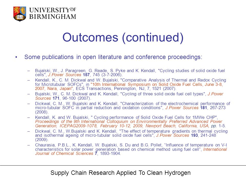 Supply Chain Research Applied To Clean Hydrogen Outcomes (continued) Some publications in open literature and conference proceedings: –Bujalski, W., J