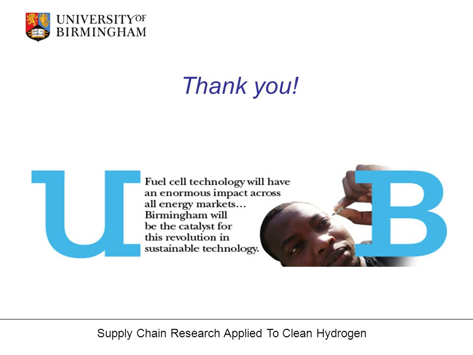 Supply Chain Research Applied To Clean Hydrogen Thank you!