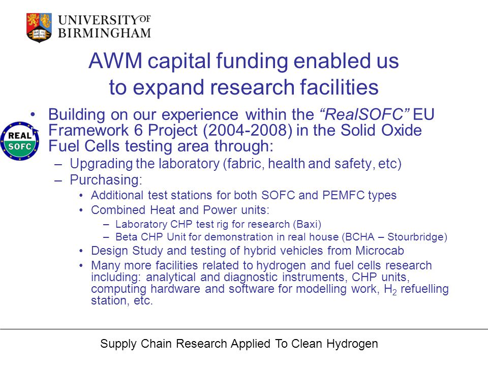Supply Chain Research Applied To Clean Hydrogen Acknowledgements