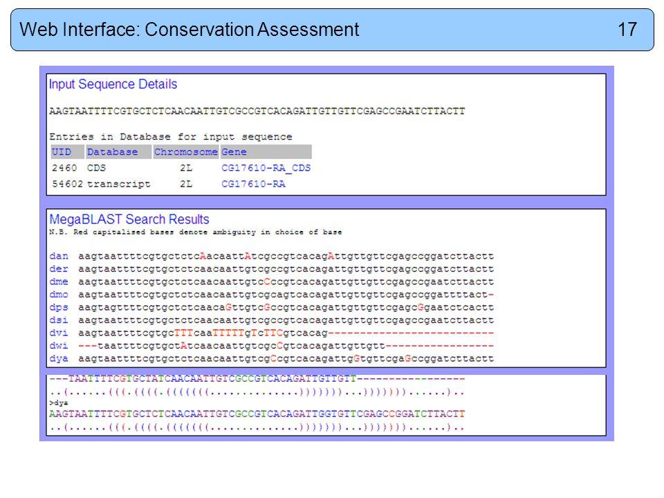 Web Interface: Conservation Assessment17