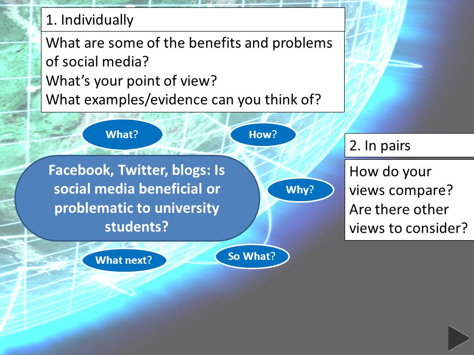 Facebook, Twitter, blogs: Is social media beneficial or problematic to university students.