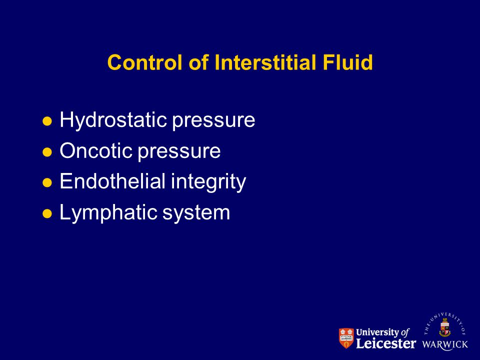 Control of Interstitial Fluid Hydrostatic pressure Oncotic pressure Endothelial integrity Lymphatic system