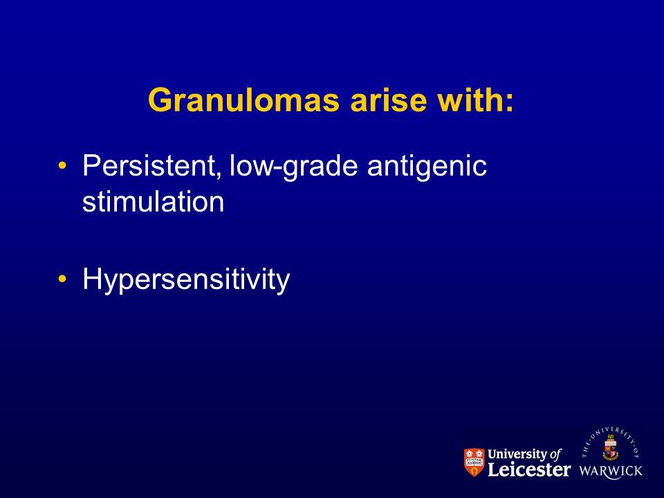 Granulomas arise with: Persistent, low-grade antigenic stimulation Hypersensitivity