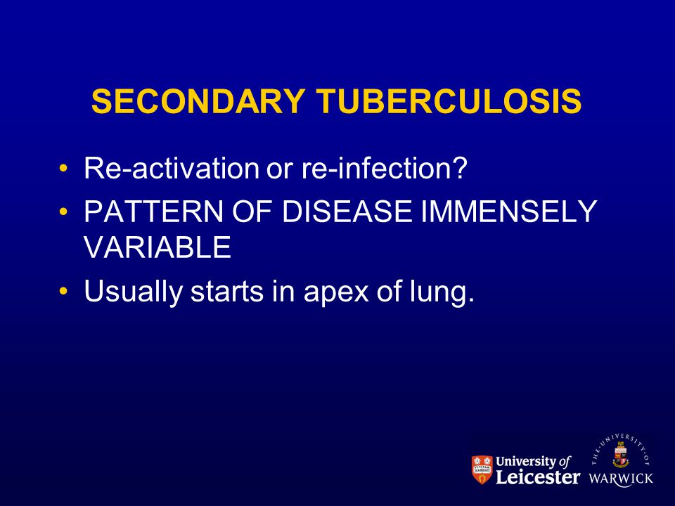 SECONDARY TUBERCULOSIS Re-activation or re-infection? PATTERN OF DISEASE IMMENSELY VARIABLE Usually starts in apex of lung.
