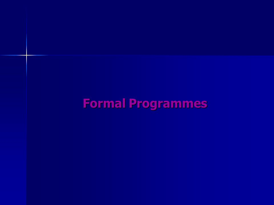 Formal Programmes