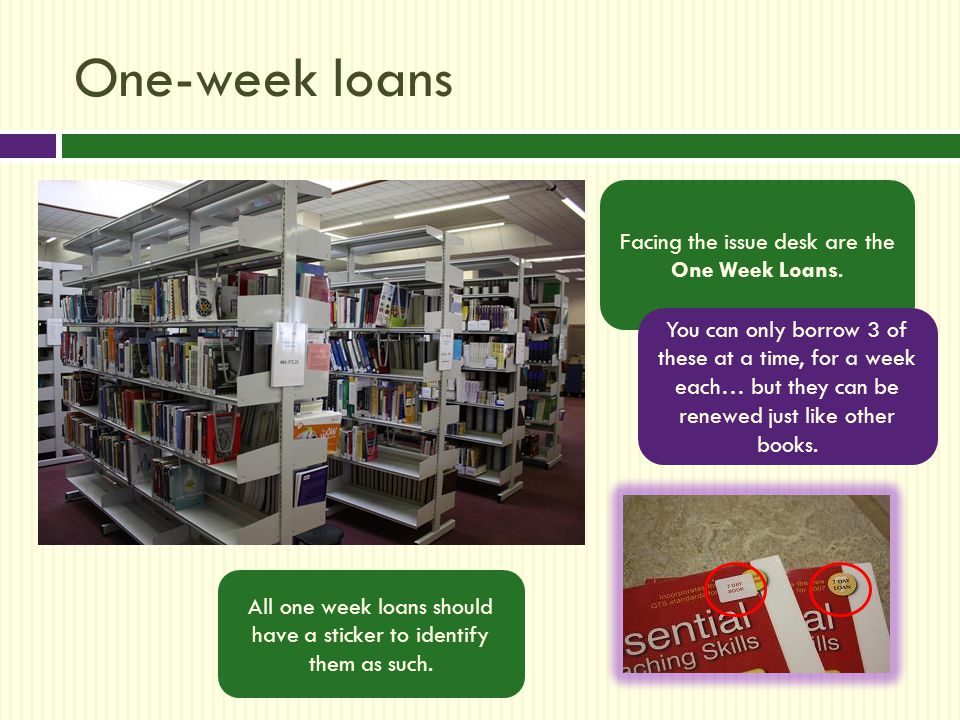 One-week loans Facing the issue desk are the One Week Loans.