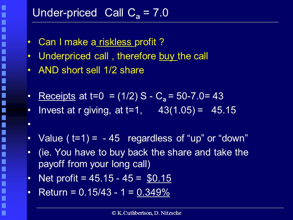 © K.Cuthbertson, D. Nitzsche Under-priced Call C a = 7.0 Can I make a riskless profit ? Underpriced call, therefore buy the call AND short sell 1/2 sh
