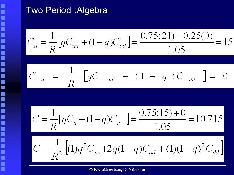 © K.Cuthbertson, D. Nitzsche Two Period :Algebra