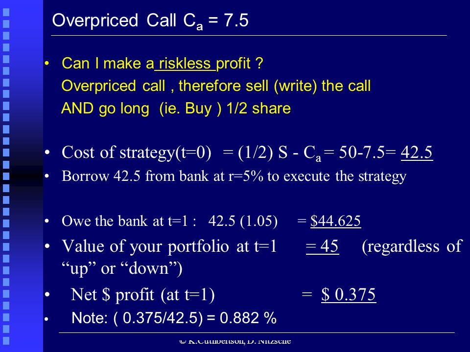 © K.Cuthbertson, D. Nitzsche Overpriced Call C a = 7.5 Can I make a riskless profit ? Overpriced call, therefore sell (write) the call AND go long (ie