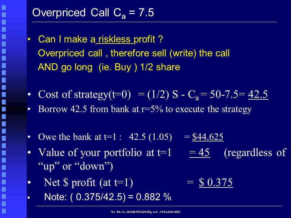 © K.Cuthbertson, D. Nitzsche Overpriced Call C a = 7.5 Can I make a riskless profit .