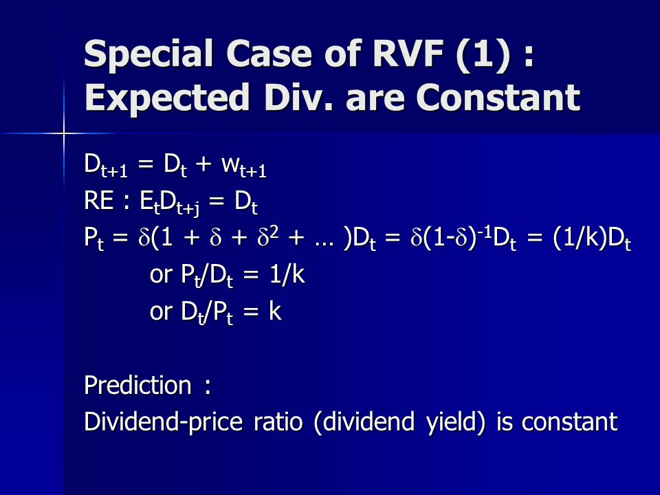 Special Case of RVF (1) : Expected Div.