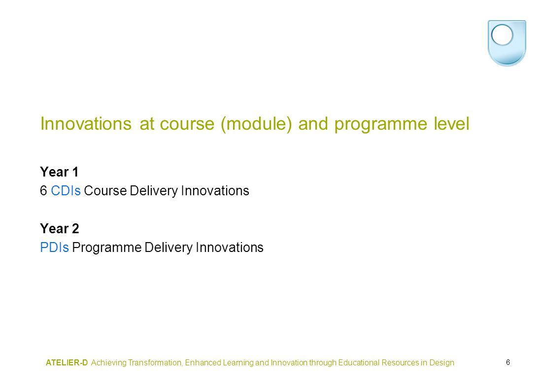 6 ATELIER-D Achieving Transformation, Enhanced Learning and Innovation through Educational Resources in Design Innovations at course (module) and programme level Year 1 6 CDIs Course Delivery Innovations Year 2 PDIs Programme Delivery Innovations