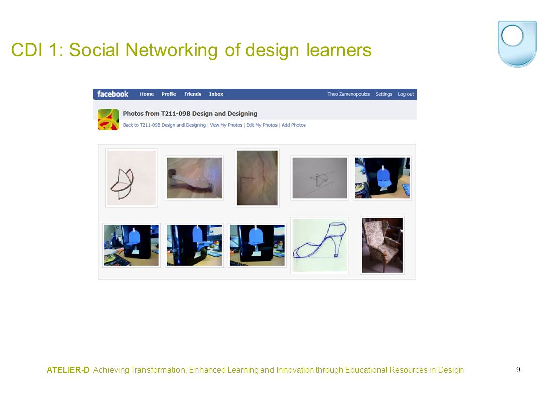9 ATELIER-D Achieving Transformation, Enhanced Learning and Innovation through Educational Resources in Design CDI 1: Social Networking of design learners