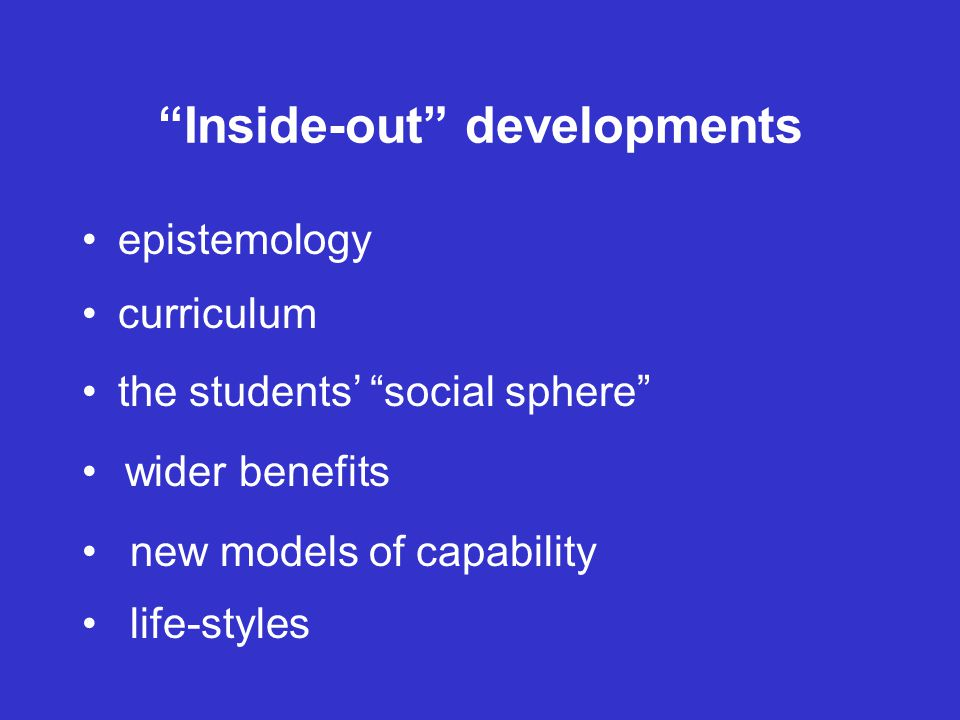 Inside-out developments epistemology curriculum the students' social sphere wider benefits new models of capability life-styles