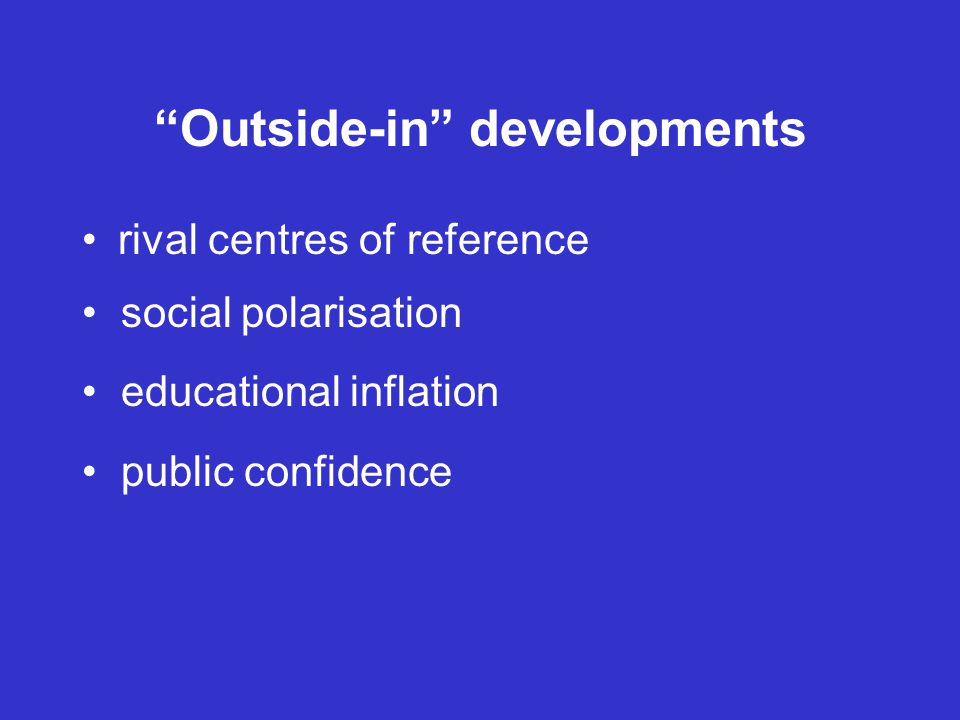 Outside-in developments rival centres of reference social polarisation educational inflation public confidence