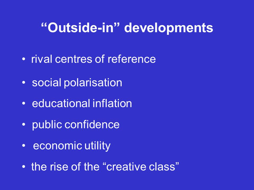 Outside-in developments rival centres of reference social polarisation educational inflation public confidence economic utility the rise of the creative class