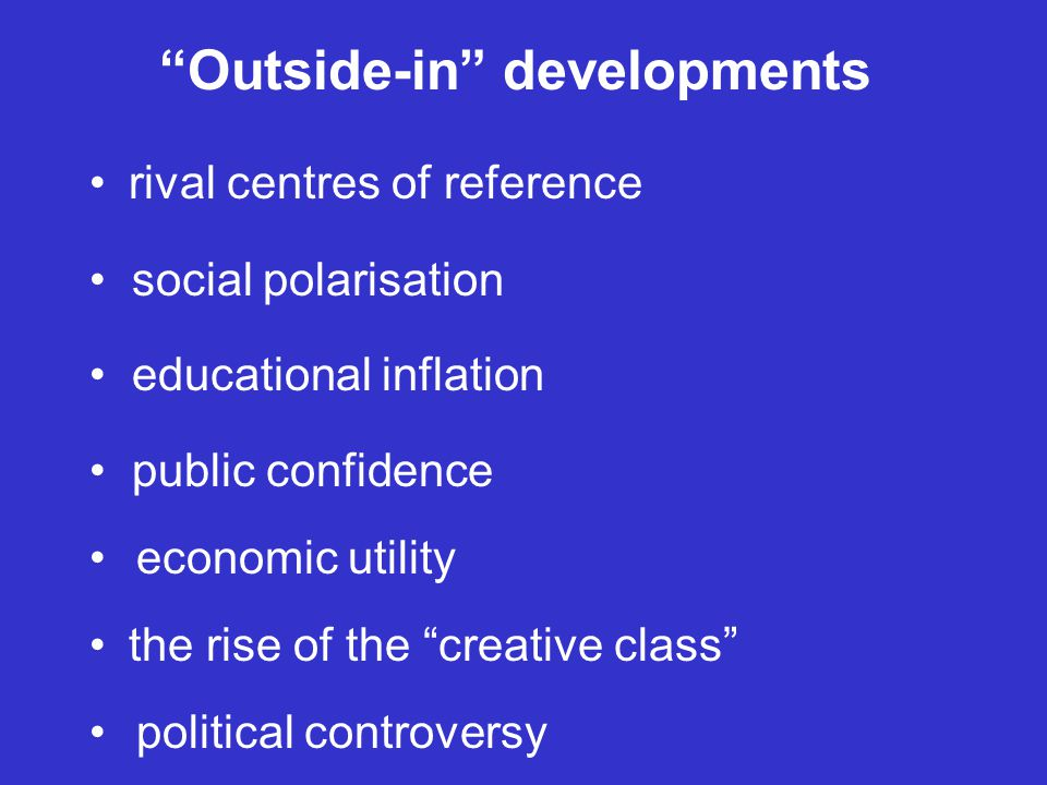 Outside-in developments rival centres of reference social polarisation educational inflation public confidence economic utility the rise of the creative class political controversy