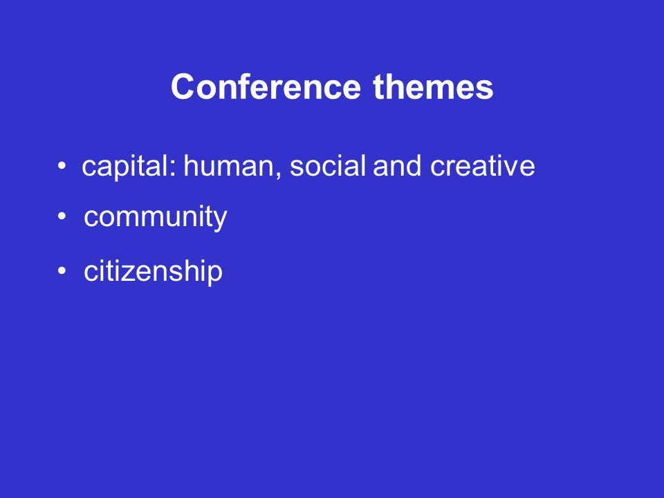 Conference themes capital: human, social and creative community citizenship