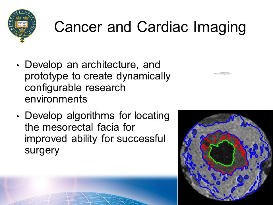 Cancer and Cardiac Imaging Develop an architecture, and prototype to create dynamically configurable research environments Develop algorithms for locating the mesorectal facia for improved ability for successful surgery