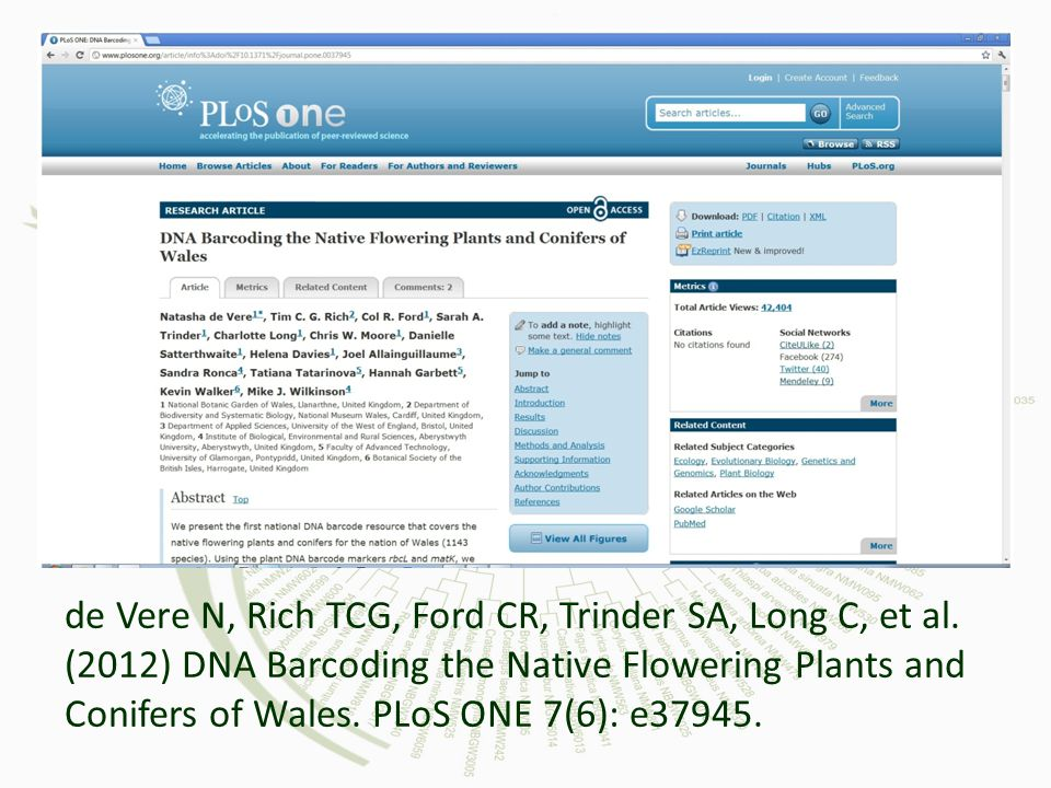 de Vere N, Rich TCG, Ford CR, Trinder SA, Long C, et al. (2012) DNA Barcoding the Native Flowering Plants and Conifers of Wales. PLoS ONE 7(6): e37945