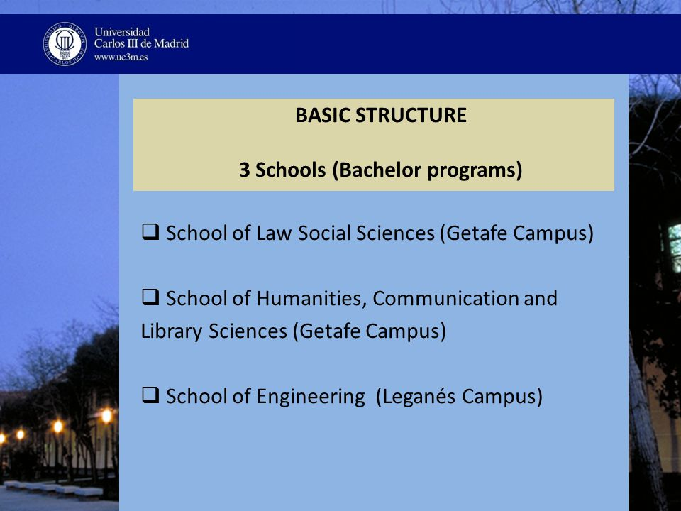 BASIC STRUCTURE 3 Schools (Bachelor programs)  School of Law Social Sciences (Getafe Campus)  School of Humanities, Communication and Library Sciences (Getafe Campus)  School of Engineering (Leganés Campus)