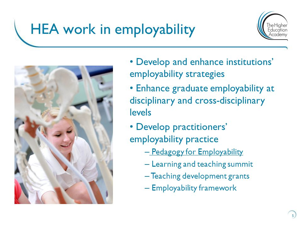 5 HEA work in employability Develop and enhance institutions' employability strategies Enhance graduate employability at disciplinary and cross-disciplinary levels Develop practitioners' employability practice – Pedagogy for Employability Pedagogy for Employability – Learning and teaching summit – Teaching development grants – Employability framework