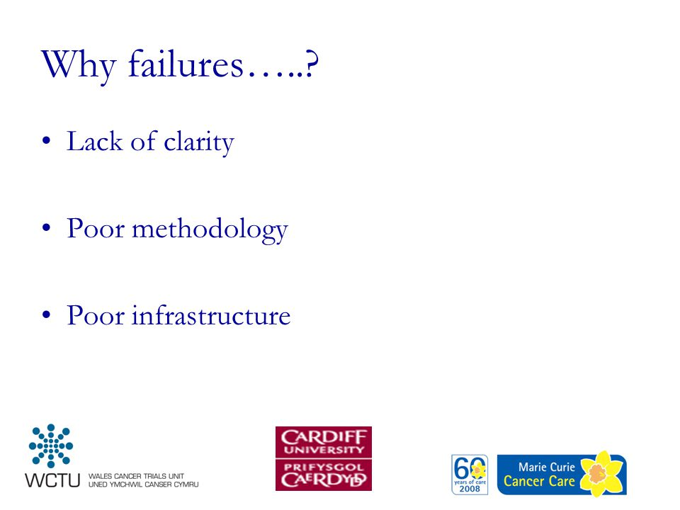 Why failures…..? Lack of clarity Poor methodology Poor infrastructure