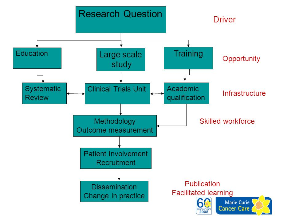 Research Question Large scale study Education Training Systematic Review Clinical Trials Unit Academic qualification Patient Involvement Recruitment M
