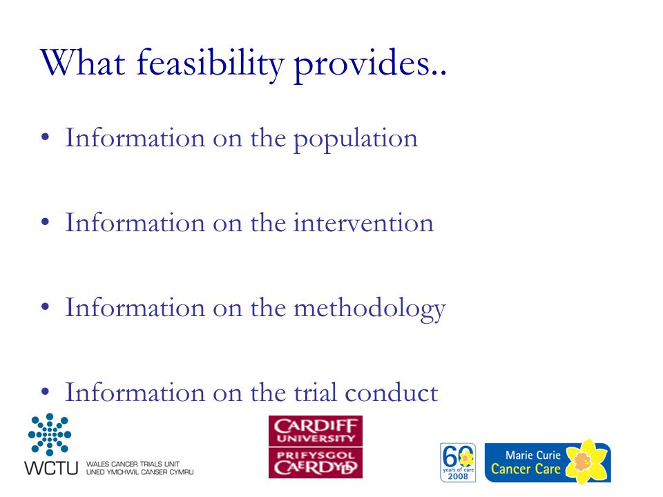 What feasibility provides.. Information on the population Information on the intervention Information on the methodology Information on the trial cond