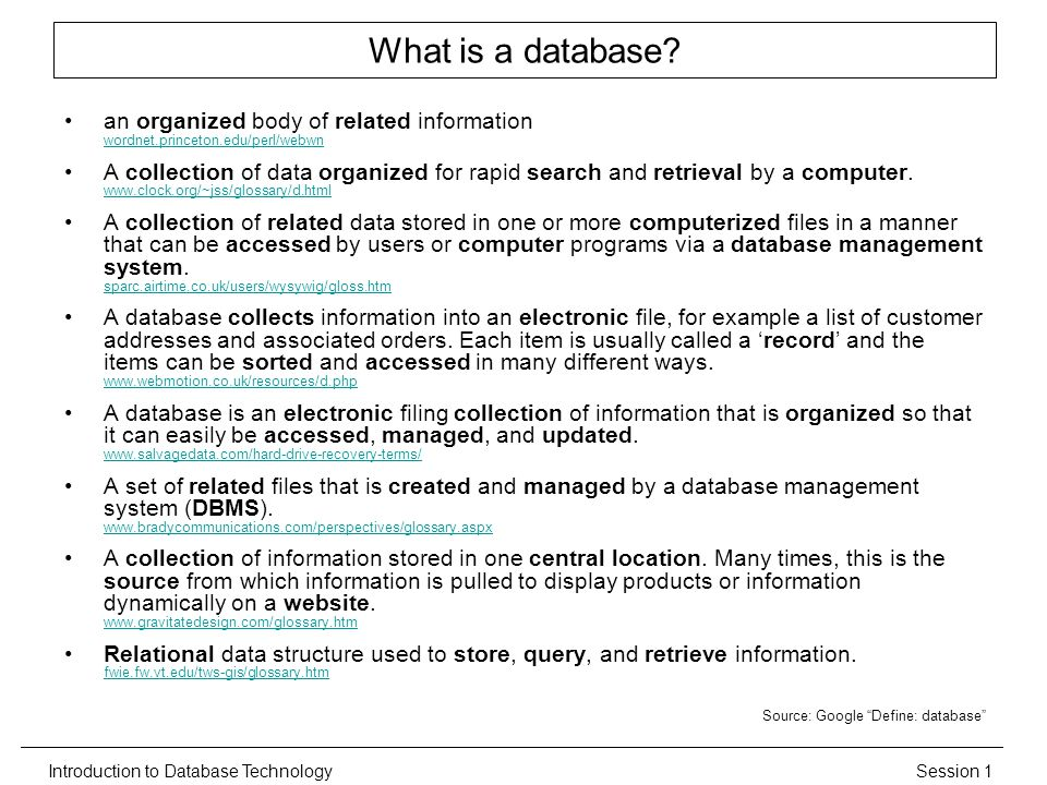 Session 1Introduction to Database Technology What is a database.