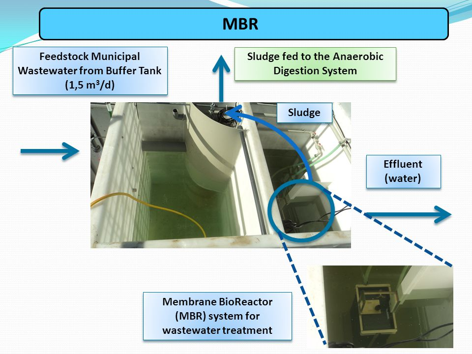 MBR Feedstock Municipal Wastewater from Buffer Tank (1,5 m 3 /d) Membrane BioReactor (MBR) system for wastewater treatment Effluent (water) Sludge Slu