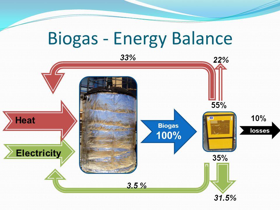 Biogas - Energy Balance Electricity Biogas 100% Heat 33% 3.5 % 22% 31.5% 55% 35% losses 10%
