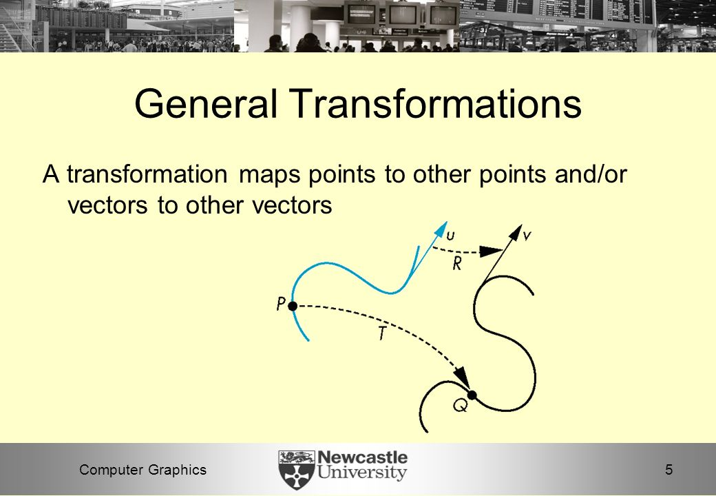 5Computer Graphics General Transformations A transformation maps points to other points and/or vectors to other vectors