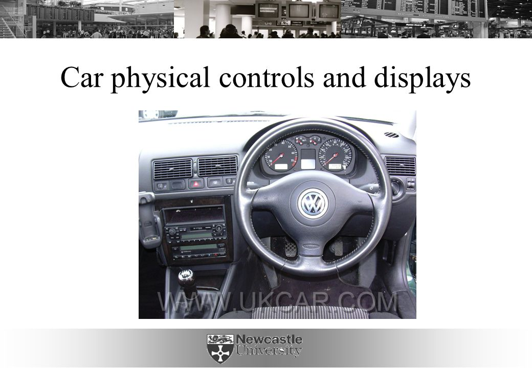 Affordances of parts of a car In a group, select some parts/controls of a car, and list and discuss their affordances (as perceived action possibilities)