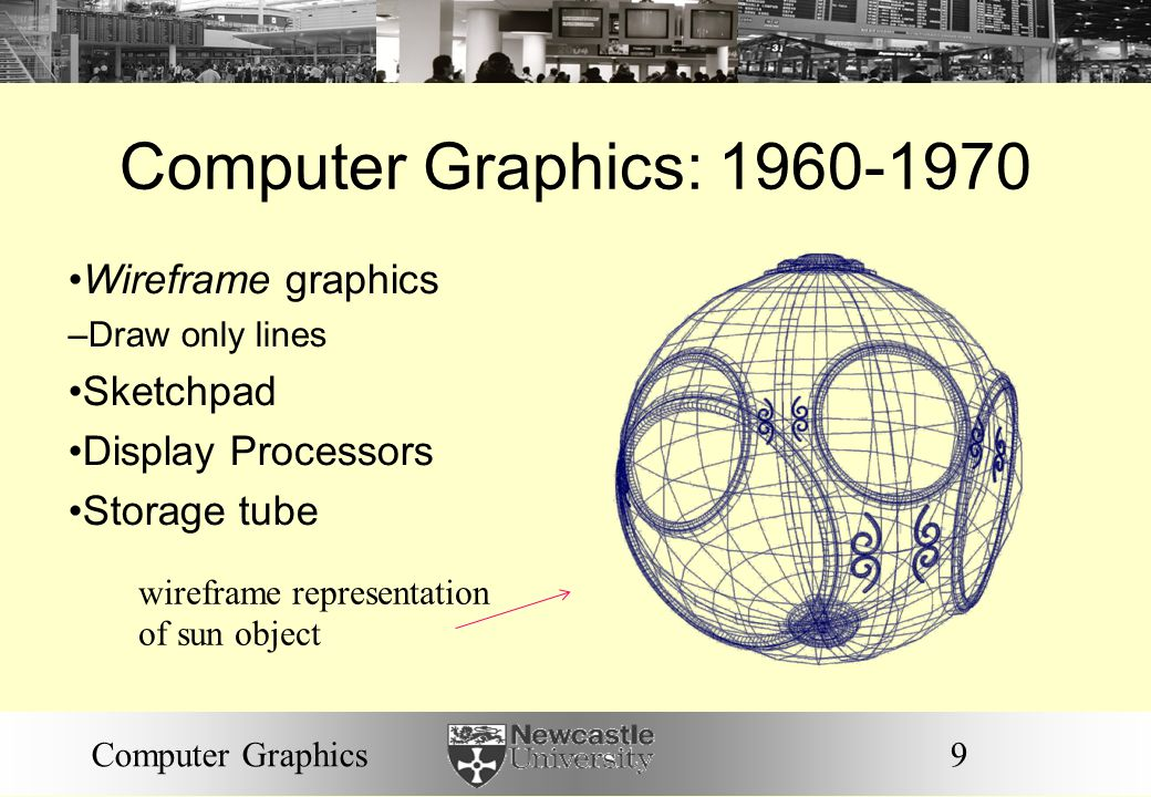 9Computer Graphics Computer Graphics: 1960-1970 Wireframe graphics – Draw only lines Sketchpad Display Processors Storage tube wireframe representation of sun object