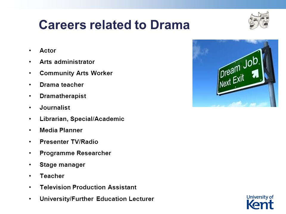 Careers related to Drama Actor Arts administrator Community Arts Worker Drama teacher Dramatherapist Journalist Librarian, Special/Academic Media Planner Presenter TV/Radio Programme Researcher Stage manager Teacher Television Production Assistant University/Further Education Lecturer
