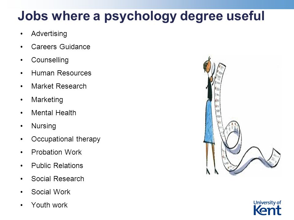 Jobs where a psychology degree useful Advertising Careers Guidance Counselling Human Resources Market Research Marketing Mental Health Nursing Occupational therapy Probation Work Public Relations Social Research Social Work Youth work