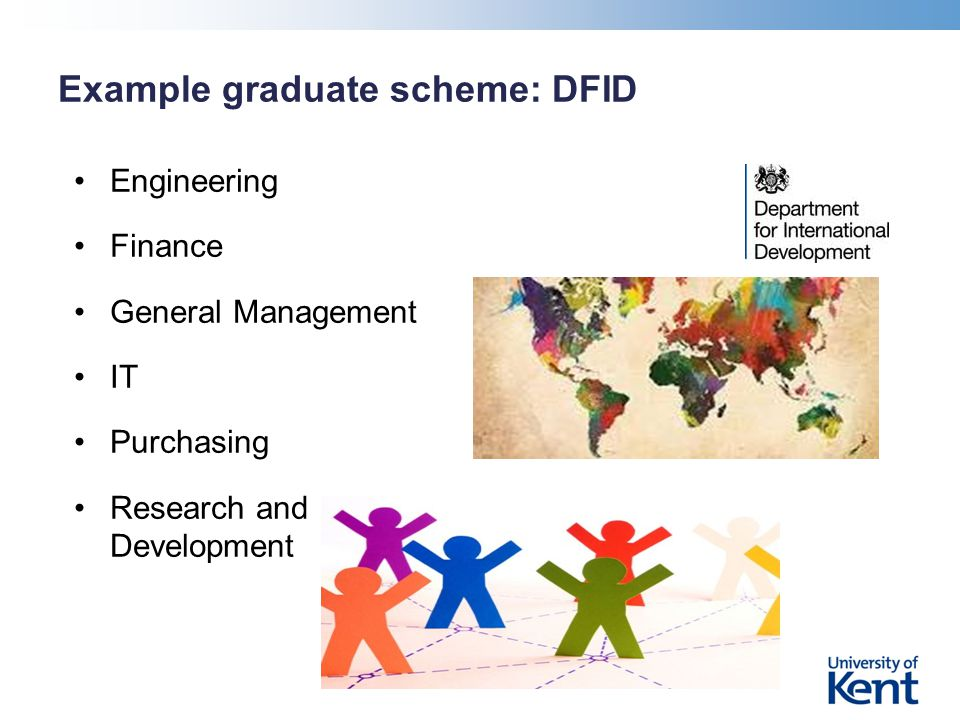 Example graduate scheme: DFID Engineering Finance General Management IT Purchasing Research and Development