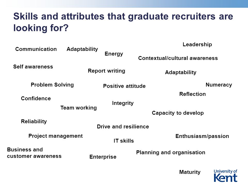 Skills and attributes that graduate recruiters are looking for.