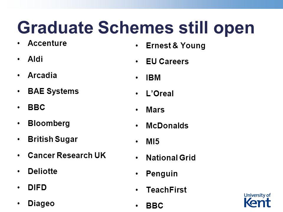 Graduate Schemes still open Accenture Aldi Arcadia BAE Systems BBC Bloomberg British Sugar Cancer Research UK Deliotte DIFD Diageo Ernest & Young EU Careers IBM L'Oreal Mars McDonalds MI5 National Grid Penguin TeachFirst BBC