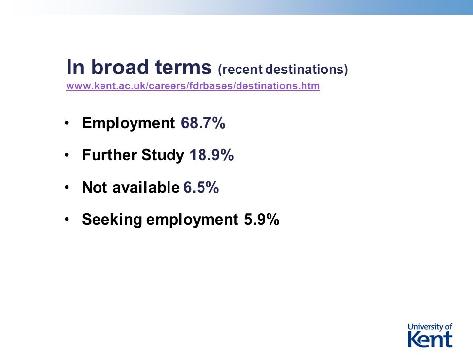 In broad terms (recent destinations) www.kent.ac.uk/careers/fdrbases/destinations.htm www.kent.ac.uk/careers/fdrbases/destinations.htm Employment 68.7