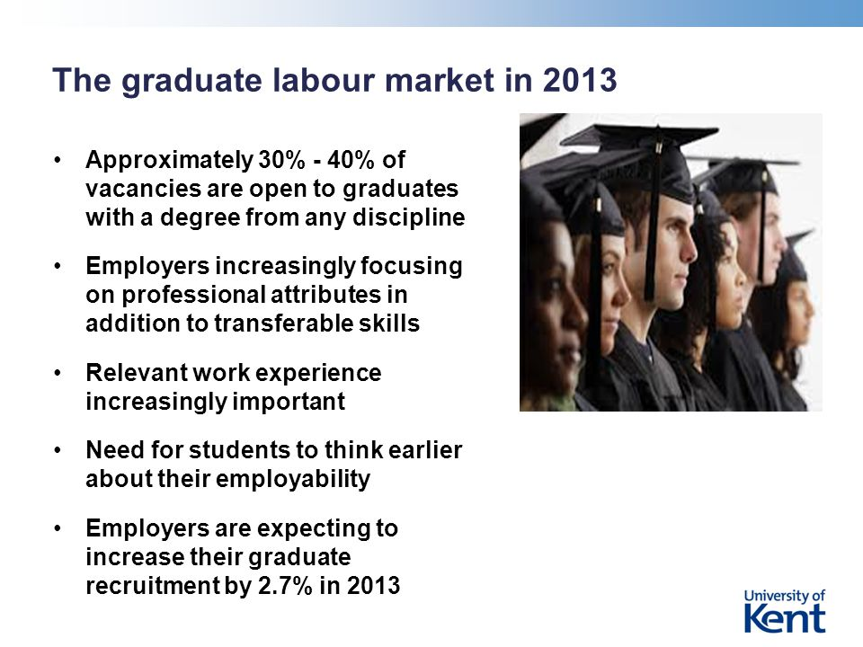 The graduate labour market in 2013 Approximately 30% - 40% of vacancies are open to graduates with a degree from any discipline Employers increasingly