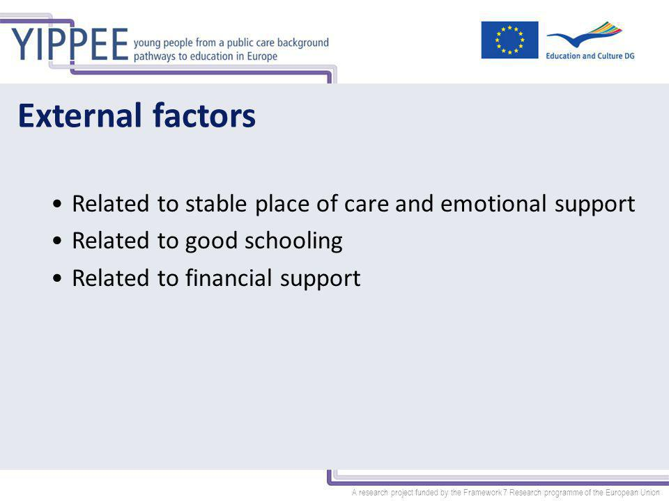 A research project funded by the Framework 7 Research programme of the European Union External factors Related to stable place of care and emotional support Related to good schooling Related to financial support