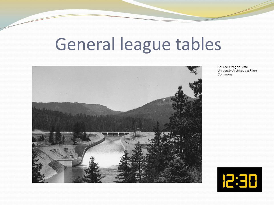 General league tables Source: Oregon State University Archives via Flickr Commons