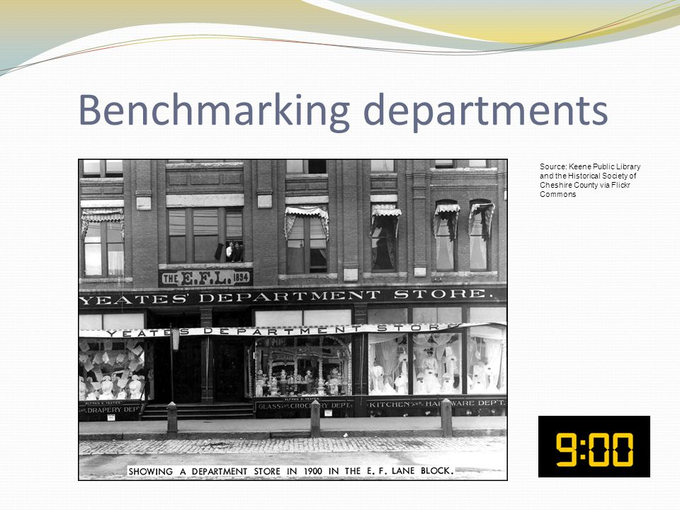 Benchmarking departments Source: Keene Public Library and the Historical Society of Cheshire County via Flickr Commons