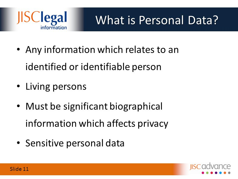 Slide 11 What is Personal Data.