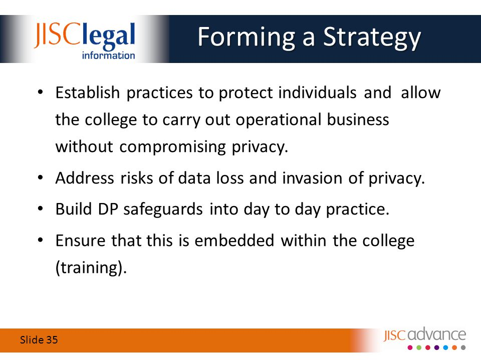 Slide 35 Establish practices to protect individuals and allow the college to carry out operational business without compromising privacy.