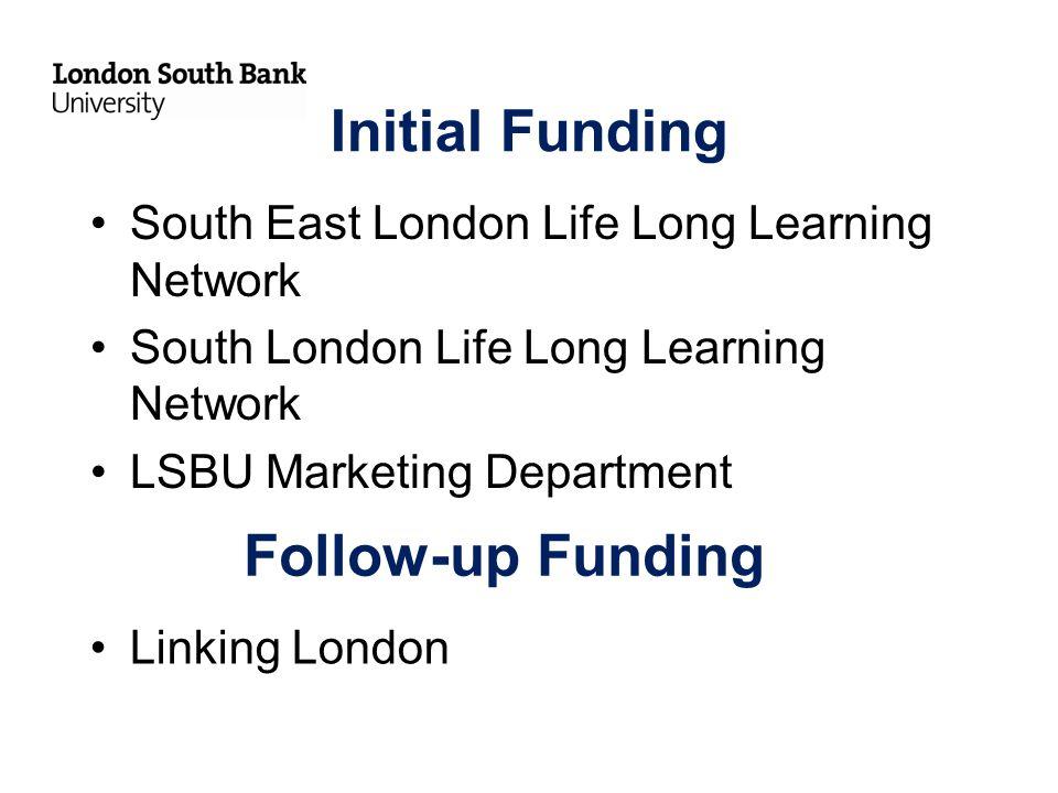 Initial Funding South East London Life Long Learning Network South London Life Long Learning Network LSBU Marketing Department Follow-up Funding Linking London