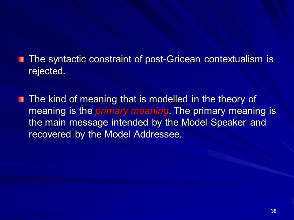 38 The syntactic constraint of post-Gricean contextualism is rejected.