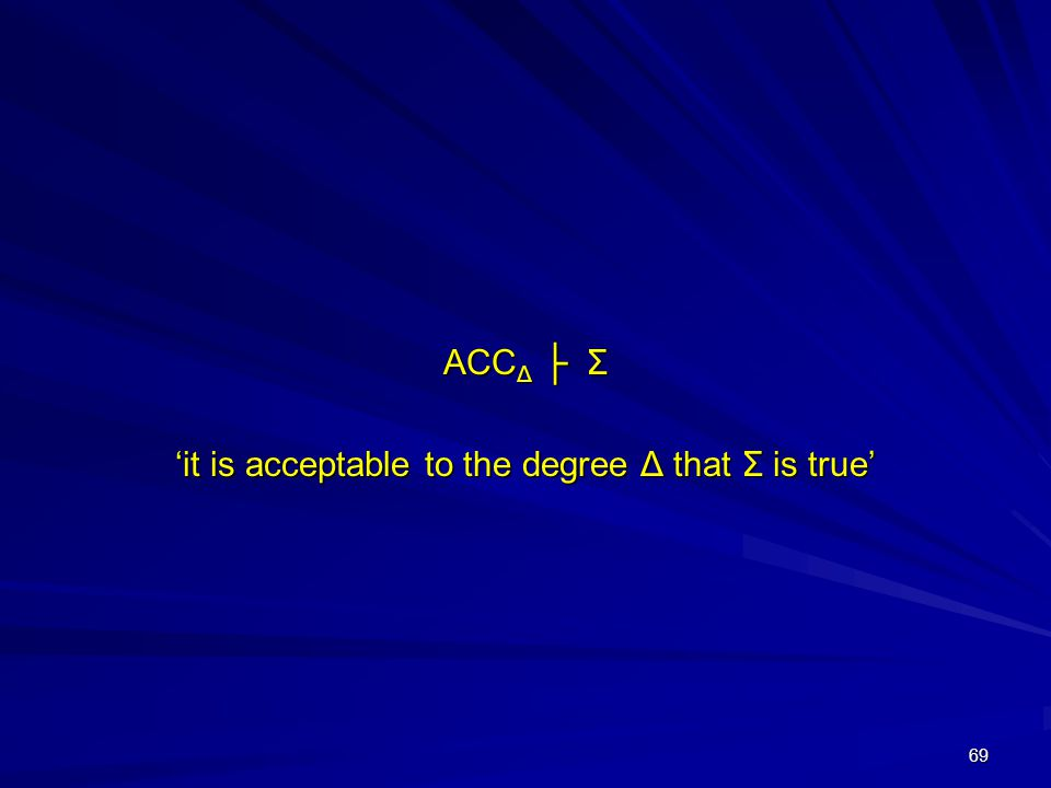 69 ACC Δ ├ Σ 'it is acceptable to the degree Δ that Σ is true'